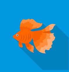 gold fish icon flat singe aquarium fish icon from vector image vector image