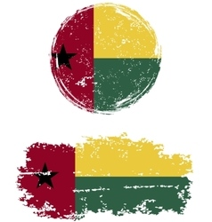 Guinea-Bissau round and square grunge flags vector image vector image