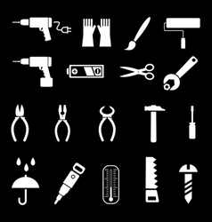 hand tools and diy tools set of icons isolated sy vector image vector image