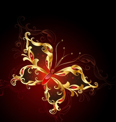luxury golden butterfly vector image
