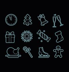 neon christmas icons vector image vector image