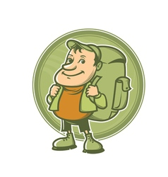 tourist with backpack vector image