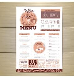 Vintage coffee menu design vector