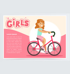 pretty girl cycling on bicycle girls banner flat vector image