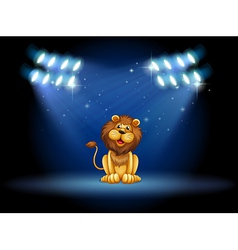 A stage with a lion at the center vector image