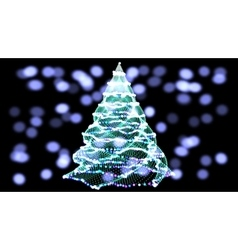 Abstract green christmas tree on black background vector image