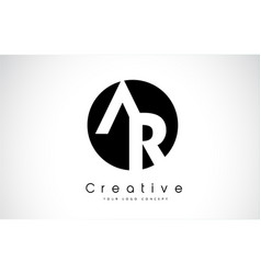 Ar letter logo design inside a black circle vector