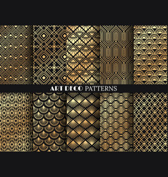 Art deco pattern golden minimalism lines vintage vector