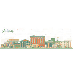 Athens greece city skyline with color buildings vector