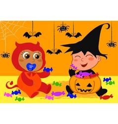 babies at halloween vector image