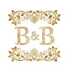 Bb vintage initials logo symbol letters b vector