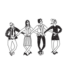 Business team dance presentation black and white vector