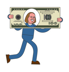 Businessman carries big dollar huge profits big vector