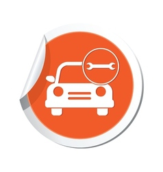 car with wrench icon orange label vector image