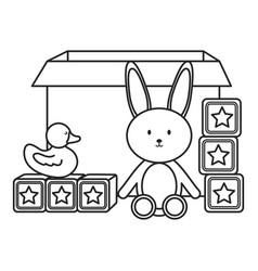 Carton box with toys icons vector