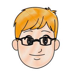 Cartoon head young man smile expression vector