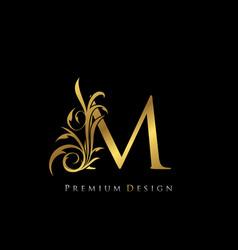 Classy gold elegant letter m graceful style vector