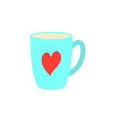 coffee cups red coffee cup heart valentines day vector image