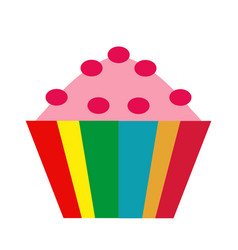 Colorful cupcake icon flat cartoon style vector