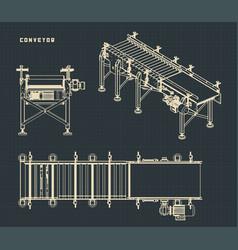 Conveyor drawings vector