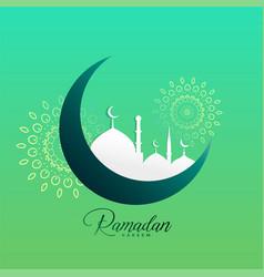 Creative ramadan kareem moon and mosque design vector