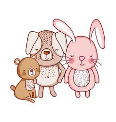 Cute animals bear rabbit and dog cartoon isolated vector