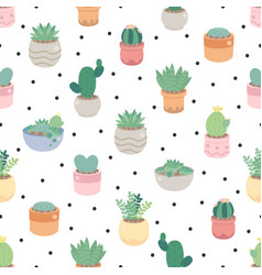 cute cactus and succulent on dot seamless pattern vector image