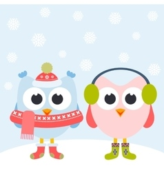 Cute owls and snowflakes vector