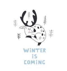 cute reindeer badeer merry christmas cartoon vector image