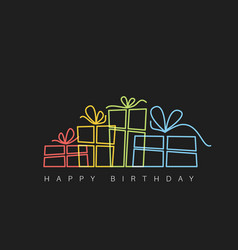 dark happy birthday with presents vector image
