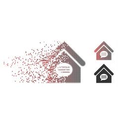 Disintegrating pixel halftone realty message icon vector