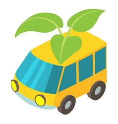 Eco car icon isometric style vector