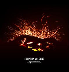 Eruption volcano thunderstorm sparks big vector