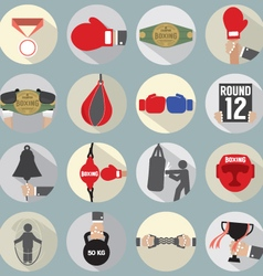 Flat Design Boxing Icon Set vector image