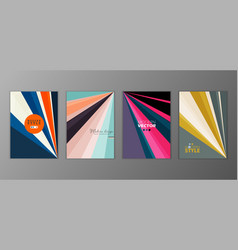 Flat geometric covers design colorful modernism vector