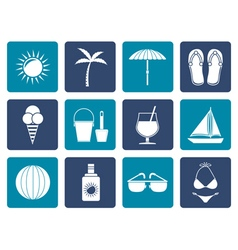 Flat Summer Holiday and beach objects vector
