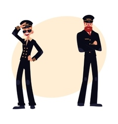 Full length portraits of two pilots in black vector image