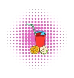 Glass of sangria icon comics style vector