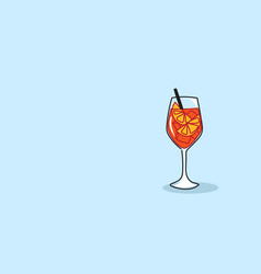 glass summer juicy orange fruit cocktail with vector image