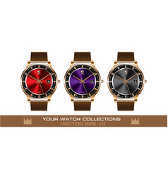 Gold wristwatch color brown leather strap set vector