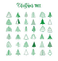 handdrawn christmas tree set vector image