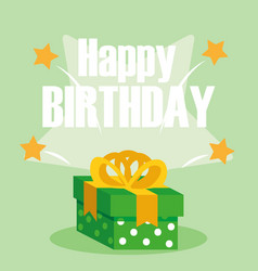 happy birthday card with gift box vector image