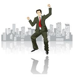 happy businessman in the big city vector image