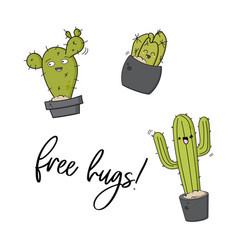 happy cactus print cool kids design vector image