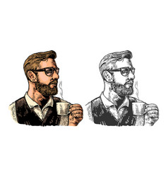 Hipster barista with the beard holding a cup of vector