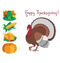 Icon set for thanksgiving vector image