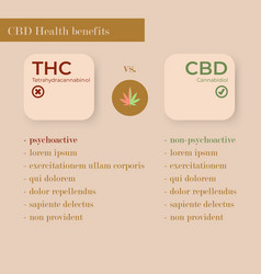 infographic about thc and cbd vector image