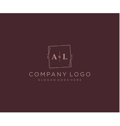 Initial al letters decorative luxury wedding logo vector
