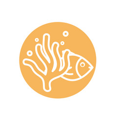 Isolated fish with alga line block style icon vector