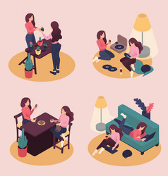 Isometric girlfriend spend a weekend together vector
